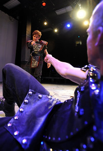 "Actor Scott Ryan, left, is about to ""stab"" Dan Foote during dress rehearsal. Members of the CU Boulder Theatre and Dance Department rehearse the play, ""Tamburlaine: Reign in Blood"" on Sunday night. The theatre department is 50-years old. For more photos of rehearsal, go to www.dailycamera.com. Cliff Grassmick / September 26, 2010"