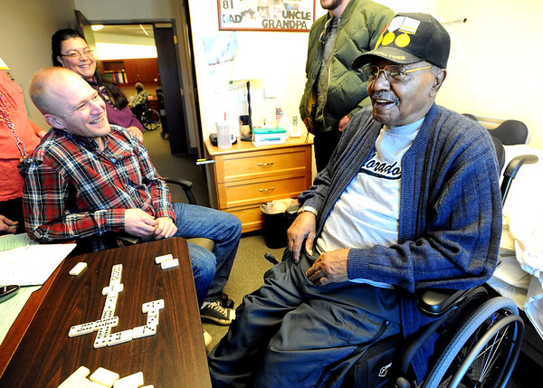 "Veteran and current CU student, John Sansom, shares some stories with Robert Lawler, who served in Korea.<br /> Former military vets who are now attending school at the University of Colorado, visited Fitzsimons Veterans Nursing Home in Denver.<br /> For more photos and a video of the vets, go to  <a href=""http://www.dailycamera.com"">http://www.dailycamera.com</a>.<br /> Cliff Grassmick / March 4, 2012"
