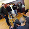 "Vet and current CU student, Joe Cafferty, left,  Lane Masters,  Dan Hartley, John Will and Kenneth Trujillo, visit with veterans at Fitzsimons Veterans Nursing Home  on Sunday.<br /> Former military vets who are now attending school at the University of Colorado, visited Fitzsimons Veterans Nursing Home in Denver.<br /> For more photos and a video of the vets, go to  <a href=""http://www.dailycamera.com"">http://www.dailycamera.com</a>.<br /> Cliff Grassmick / March 4, 2012"