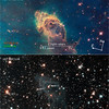 Carina Nebula<br /> Stars Bursting to Life in Chaotic Carina Nebula<br /> <br /> These two images of a huge pillar of star birth demonstrate how observations taken in visible and in infrared light by NASA's Hubble Space Telescope reveal dramatically different and complementary views of an object.