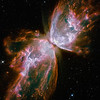Nebula NGC 6302<br /> <br /> This celestial object looks like a delicate butterfly. But it is far from serene.<br /> <br /> What resemble dainty butterfly wings are actually roiling cauldrons of gas heated to more than 36,000 degrees Fahrenheit. The gas is tearing across space at more than 600,000 miles an hour -- fast enough to travel from Earth to the moon in 24 minutes!<br /> Nebula NGC 6302