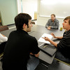 "University of Colorado's Kayla Weston left, Brian Evanko, Al Weimer and Chris Muhich discuss their research plans for the summer on Wednesday, April 25, at the new Jennie Smoly Caruthers Biotechnology building on the University of Colorado campus in Boulder. For more photos and video of the building go to  <a href=""http://www.dailycamera.com"">http://www.dailycamera.com</a> Jeremy Papasso/ Camera"