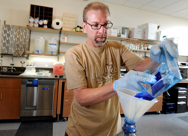 "University of Colorado doctoral candidate and research assistant Dennis Macejak works to de-stain protein gel on Wednesday, April 25, at the new Jennie Smoly Caruthers Biotechnology building on the University of Colorado campus in Boulder. For more photos and video of the building go to  <a href=""http://www.dailycamera.com"">http://www.dailycamera.com</a> Jeremy Papasso/ Camera"