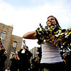 "CU color guard freshman Laken Strotton dances during this year's first Pearl Street Stampede along the Pear Street Mall in Boulder on Friday. The Colorado Buffaloes play the Colorado State Rams tomorrow at Folsom Field for the  annual Rocky Mountain Showdown.<br /> DAILY CAMERA/Kasia Broussalian<br /> For more photos and a video of the event, please visit  <a href=""http://www.dailycamera.com"">http://www.dailycamera.com</a>"