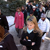 "Several dozen mourners of Tito Torres walk to the UMC  for the memorial service.<br /> A memorial honoring the life and legacy of CU student Transito ""Tito"" Torres was held Thursday at the UMC.<br /> Cliff Grassmick / December 10, 2009"