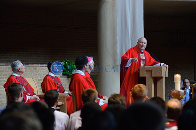 Bishop Edward J. Burns delivers a homily during the Mass of the Holy Spirit at the Church of the Incarnation on the campus of the University of Dallas August 27. (Jenna Teter/Special Contributor)
