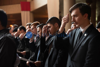 Seminarians prepare to listen to the Gospel reading during the Mass of the Holy Spirit August 27 at the Church of the Incarnation in Irving. (Jenna Teter/Special Contributor)