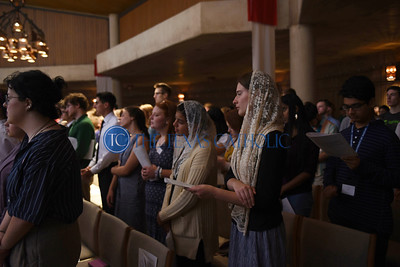 Brinta Horan, second from right, and Leah Tepichin attend the Mass of the Holy Spirit August 27 at the Church of the Incarnation in Irving. (Jenna Teter/Special Contributor)