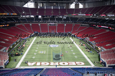 Atlanta, GA - December 2, 2017: The number 6 ranked Georgia Bulldogs face the number 2 ranked Auburn Tigers at Mercedes Benz Stadium in the SEC Championship Game.