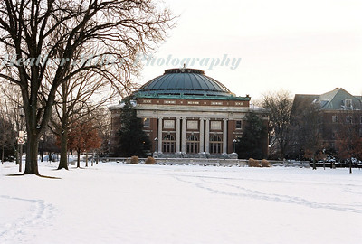 Foellinger Auditorium in snow