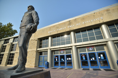 """Phog"" Allen statue in front of Booth Family Hall of Athletics, Sept. 2020"