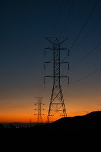 Electric towers at sunset