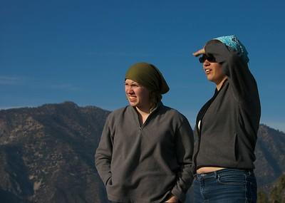Katie and Elena peering 2