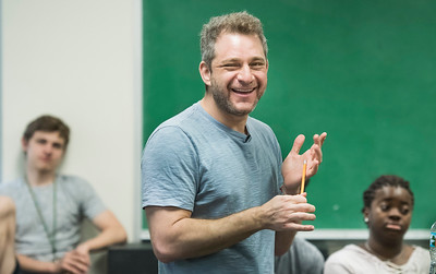 Tony award winning composer Jeff Marx spoke to the University of Miami Theatre Arts Department, musical theatre students in the Hecht building on the UM campus in Coral Gables on March 7, 2018. (Photo by Mitchell Zachs)