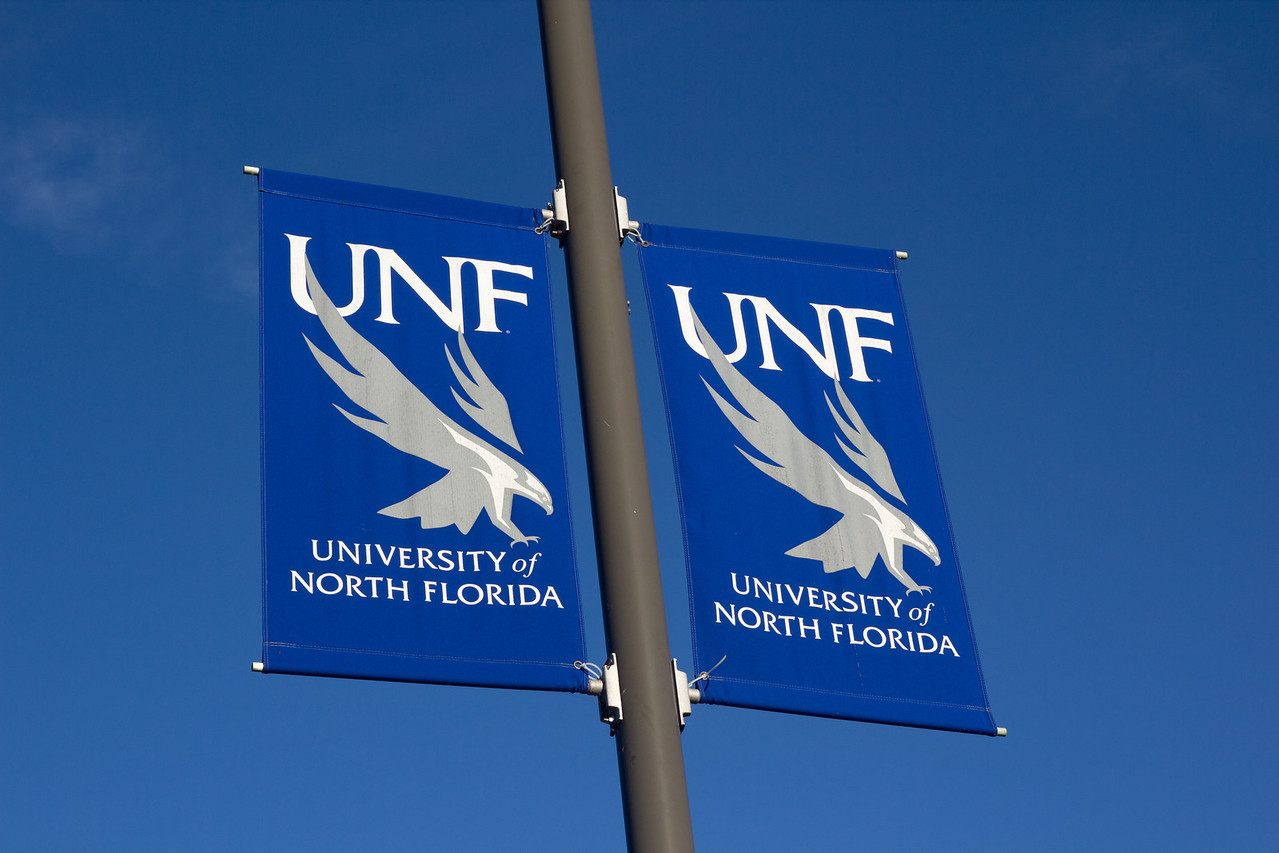 UNF Banners at the University of North Florida in Jacksonville, Florida USA on November 23, 2013.