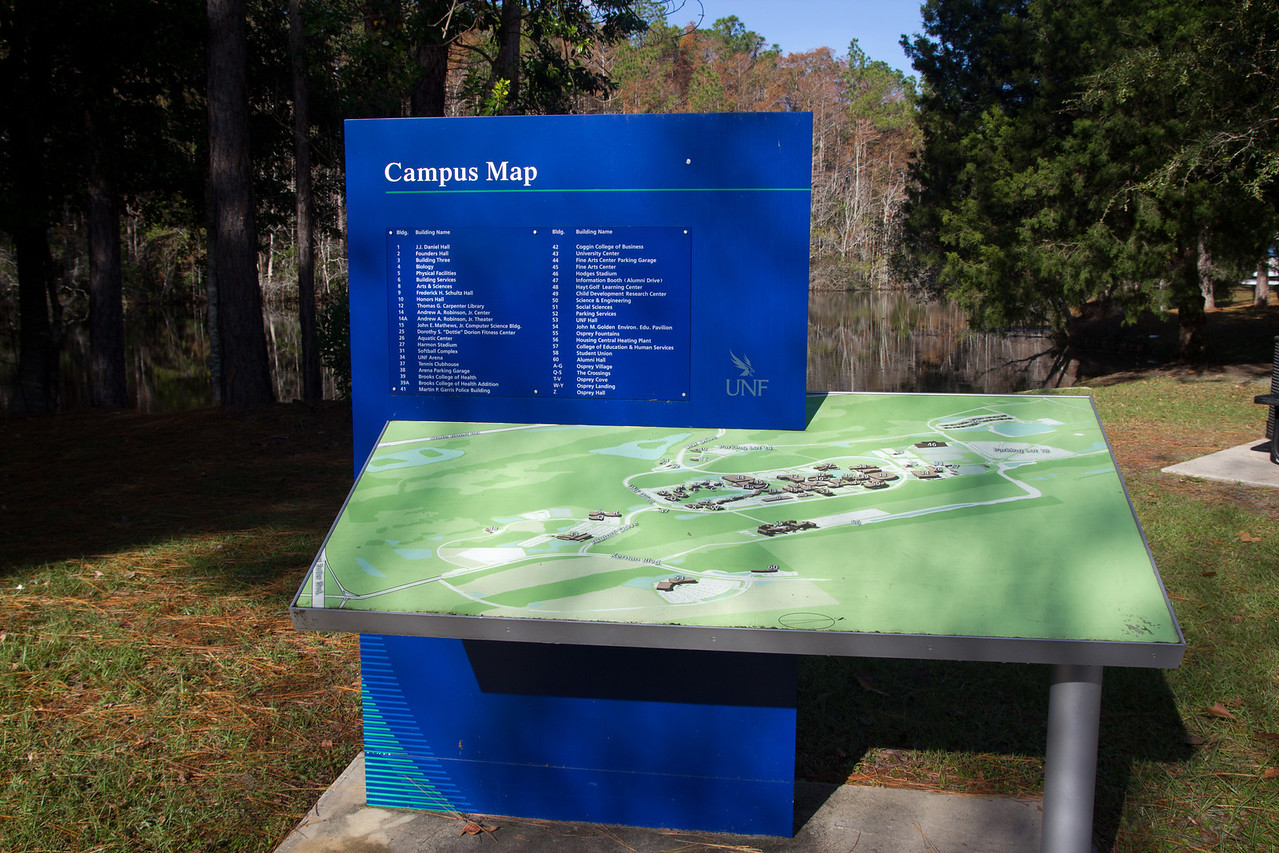 Campus Map near Osprey Landing at the University of North Florida (UNF) in Jacksonville, Florida USA on December 6, 2013.