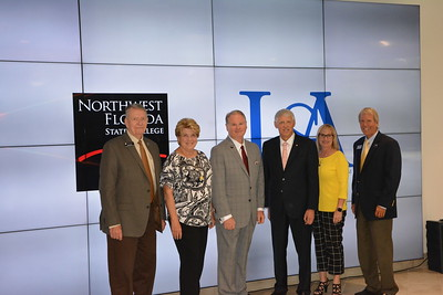 "Trustees that attended the Pathway USA signing, July 12. Pictured from left to right are; Major Gen. Don Litke, USAF Ret., Charlotte Flynt, Dr. Stephenson, NWF President, Dr. Tony Waldrop, USA President, Lori Kelley, NWF Vice Chair, Major Gen. Thomas ""Rudy"" Wright, USAF Ret."
