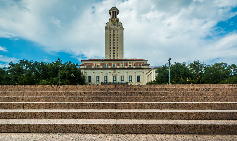 Main Building at The University of Texas at Austin with Stairs.