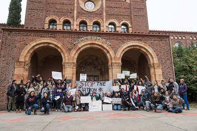 Students for Quality Education lead a protest of tuition hikes to the steps of Kendall Hall on Wednesday, February 1, 2017 in Chico, Calif.  (Jason Halley/University Photographer)