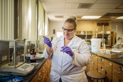 Meghan Riddell works on Biofuels as part of a Summer Undergraduate Research Program (UGR) involved in the Chico STEM Connections Collaborative (CSC2) program on Thursday, July 6, 2017 in Chico, Calif.  (Jason Halley/University Photographer)