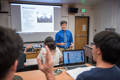 History faculty Steve Lewis teaches in his HIST 382 class on Thursday, May 4, 2017 in Chico, Calif. (Jason Halley/University Photographer)