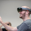 """Computer Animation and Game Development (CAGD) student Lance Mitchell wears a Microsoft HoloLens as students test out state-of-the-art Virtual Reality and Augmented Reality equipment, like Oculus Rift, HTC Vive, Google Daydream and Microsoft HoloLens in MADT 399, a cross-listed """"Virtual & Augmented Reality for Gaming & Media"""" course among J&PR, Media Arts, Design & Technology, and Computer Animation & Game Developments on Thursday, September 7, 2017 in Chico, Calif.<br /> (Jason Halley/University Photographer)"""