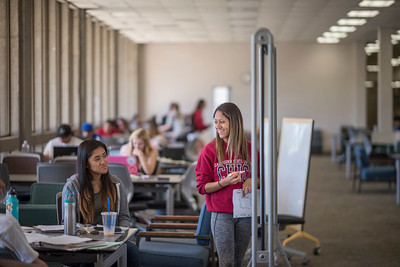 Students Marikris Morales (left) and Jasmine Delgado (right) study for finals week on the 4th floor of Meriam Library on Monday, May 15, 2017 in Chico, Calif.  (Jason Halley/University Photographer)