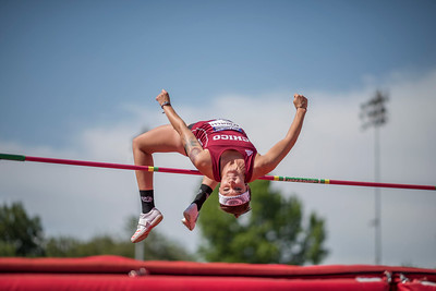 Lauren Schnelli clears the bar in the high jump as athletes compete during the California Collegiate Athletic Association Track & Field Championships on Saturday, May 6, 2017 in Chico, Calif. (Jason Halley/University Photographer)