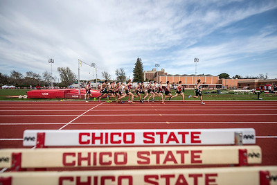 The men's 1500m race as Chico State hosts the Wildcat Invitational track meet at University Stadium on Saturday, March 11, 2017 in Chico, Calif. (Jason Halley/University Photographer)