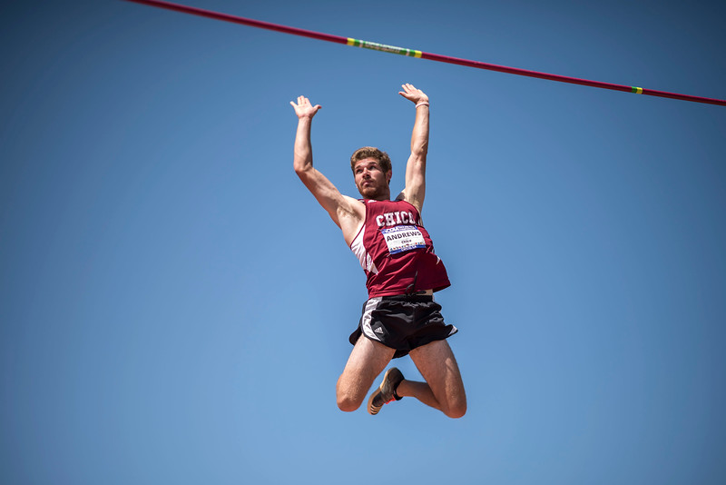 Lane Andrews clears the pole vault as athletes compete in the California Collegiate Athletic Association Track & Field Championships on Friday, May 5, 2017 in Chico, Calif.<br /> (Jason Halley/University Photographer)