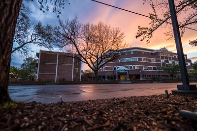 A dramatic sunset colors the sky after a break in the rain and clouds over campus on Wednesday, March 22, 2017 in Chico, Calif. (Jason Halley/University Photographer)