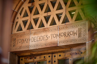 "The university motto ""Today Decides Tomorrow"" is displayed on the doors of Kendall Hall on Tuesday, June 6, 2017 in Chico, Calif.  (Jason Halley/University Photographer)"