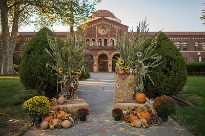 Fall and pumpkin decorated the President's Fall Reception on the Kendall Hall lawn on Friday, October 6, 2017 in Chico, Calif. (Jason Halley/University Photographer)
