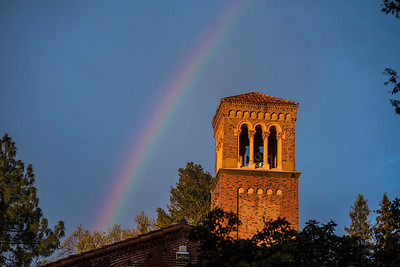 A break in the rain and clouds brought a rainbow over Trinity Hall on Wednesday, March 22, 2017 in Chico, Calif. (Jason Halley/University Photographer)