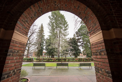 The arches of Kendall Hall frame the benches near Kendall Hall Lawn on Wednesday, February 8, 2017 in Chico, Calif.  (Jason Halley/University Photographer)