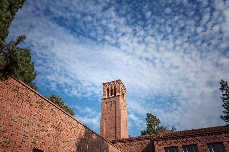 Clouds seen over Trinity Hall on Thursday, September 7, 2017 in Chico, Calif.<br /> (Jason Halley/University Photographer)