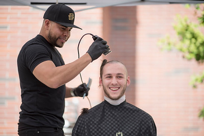 Cole Whipple, 19, and other students volunteer to shave their heads to create awareness in an effort to raise funds for the St. Baldrick's foundation on Thursday, May 4, 2017 in Chico, Calif. The St. Baldrick's Foundation is a volunteer-driven charity that funds childhood cancer research grants.  (Jason Halley/University Photographer)