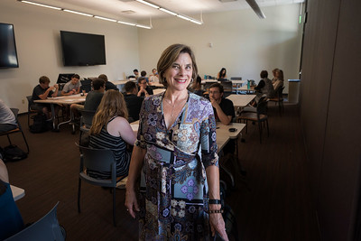 History faculty Kate Transchel (center) teaches in her HIST 314 class on Thursday, May 4, 2017 in Chico, Calif. (Jason Halley/University Photographer)
