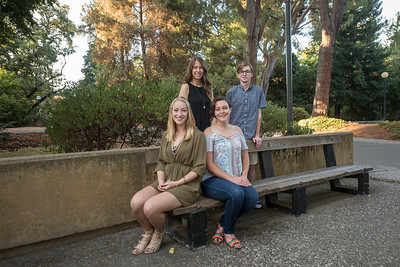 Jackie Kesting (top left), Jack Mason (top right), Miranda Jachens (bottom left), and Emma Kirchhoff (bottom right); recipients of the The Bell Family Presidential Scholarship take a group photo on Friday, August 25, 2017 in Chico, Calif. (Jason Halley/University Photographer)