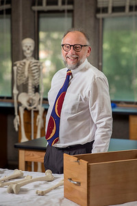 Dr. P Willey is a physical anthropologist with academic and research interests in skeletal biology, and anatomy, photographed in the Human Identification Lab on Tuesday, July 18, 2017 in Chico, Calif.  (Jason Halley/University Photographer)