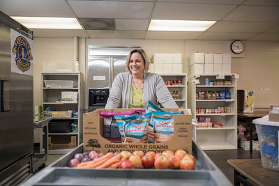 The Hungry Wildcat Food (HWF) Pantry, founded by Student Affairs staff member Kathleen Moroney, has bloomed into a viable resource for students facing food insecurity at Chico State. Moroney is photographed in the pantry on Monday, October 2, 2017 in Chico, Calif. The Hungry Wildcat Food Pantry provides nutritious food, CalFresh food program assistance and referral services for students experiencing food insecurity (those not having reliable access to a sufficient quantity of affordable, nutritious food). (Jason Halley/University Photographer)