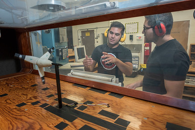Edgar Leon, 20 (left), and Armando Lopez, 23 (right), work on Aerodynamics of Airfoils and Wind Tunnel Testing as part of a Summer Undergraduate Research Program (UGR) involved in the Chico STEM Connections Collaborative (CSC2) program on Thursday, July 20, 2017 in Chico, Calif.  (Jason Halley/University Photographer)