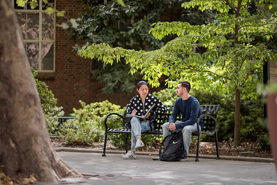 "Tingting Zheng (International student from China, 22, Business admin) (left) talks with Xavier Sanchez, (Business Administration major, 18, from San Jose) (right) at W. H. Hutchinson ""Old Hutch"" Plaza on Friday, September 22, 2017 in Chico, Calif. (Jason Halley/University Photographer)"