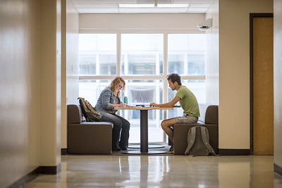 Monica Zack (left) and Oliver Wong (right) study in an alcove on the third floor of Holt Hall on Friday, April 21, 2017 in Chico, Calif. (Jason Halley/University Photographer)