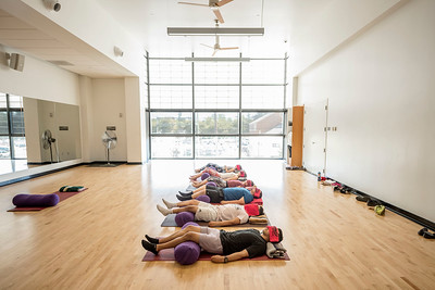 Students Alaina Bain, Katelyn McLain, Mara Johnson, Omar Malagon, Ricky Luna, Raj Singh (top to bottom) relax and improve wellness during a nap class offered at the Wildcat Recreation Center (WREC) on Thursday, September 28, 2017 in Chico, Calif. (Jason Halley/University Photographer)
