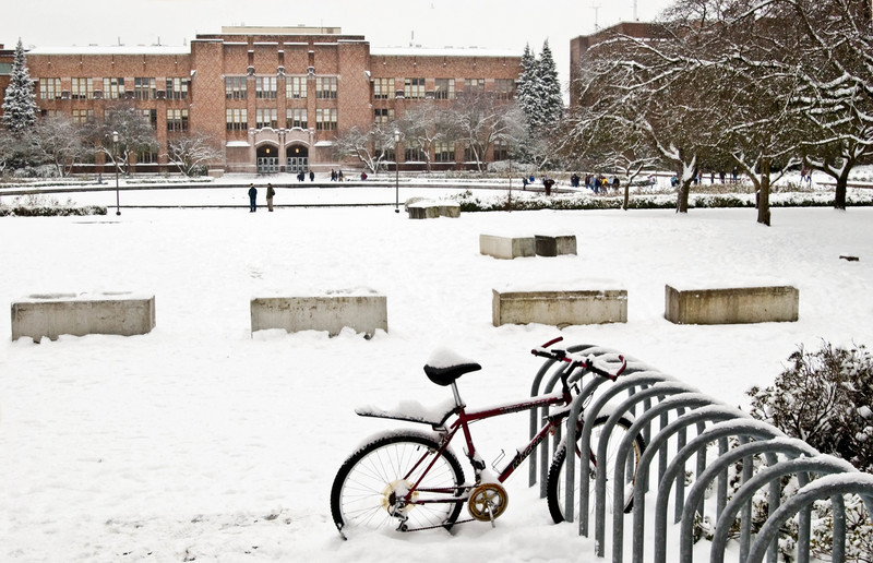 Frosh Pond and Bagley Hall after a snowfall