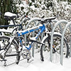 Bicycles parked near entrance to Guggenheim Hall