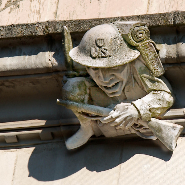 WWI soldier gargoyle on SE end of Savery Hall