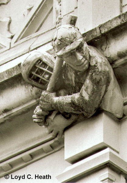 Baseball gargoyles on SW facade of Savery Hall