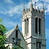 Gerberding Hall tower.  Note Neptune gargoyle at peak of roof